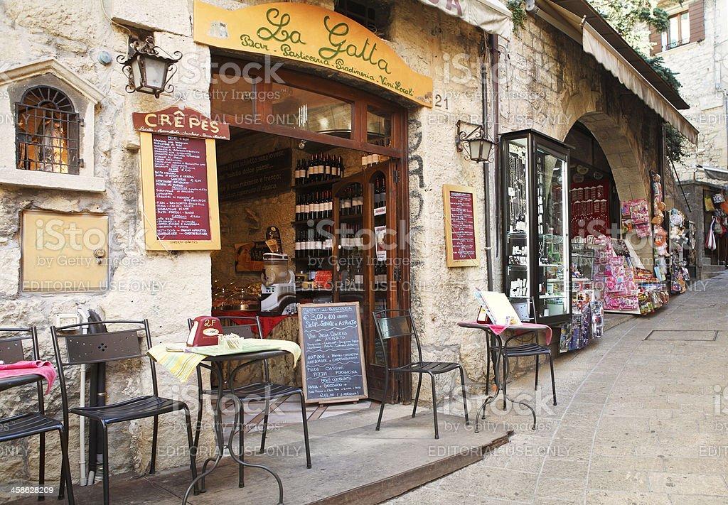 Restaurant and souvenir shops in San Marino stock photo