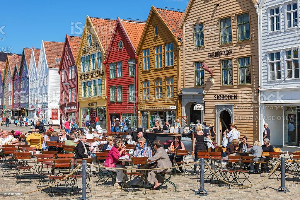 Restaurant at Bryggen in the city of Bergen, Norway stock photo