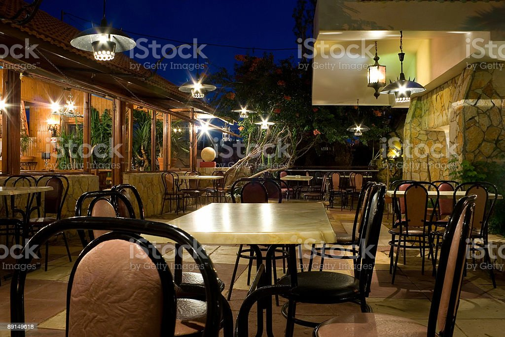 Restaurant at night royalty-free stock photo