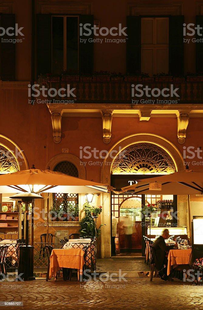 Restaurant at night stock photo