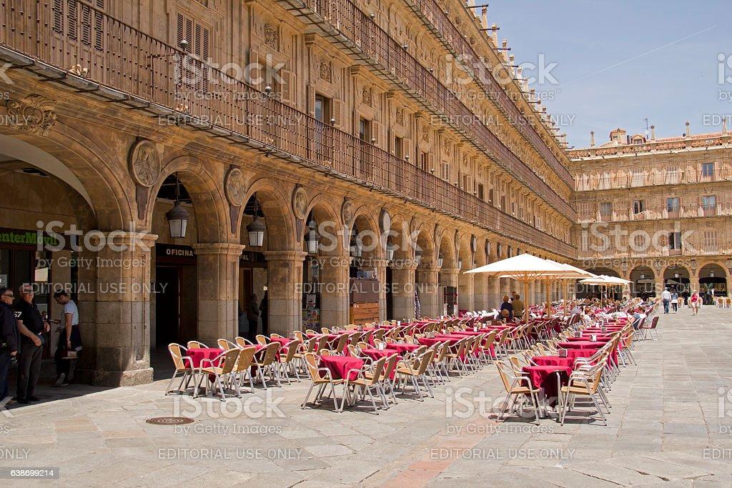 Restaurant at Plaza Mayor in Salamanca, Spain stock photo