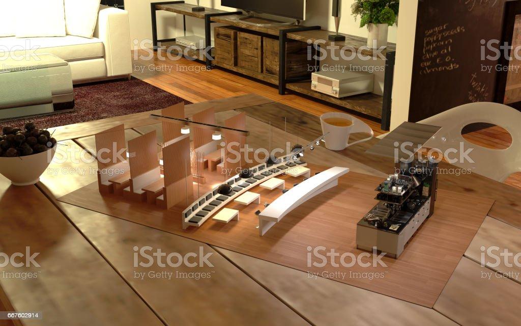Restaurant Augmented Reality Design Kitchen stock photo