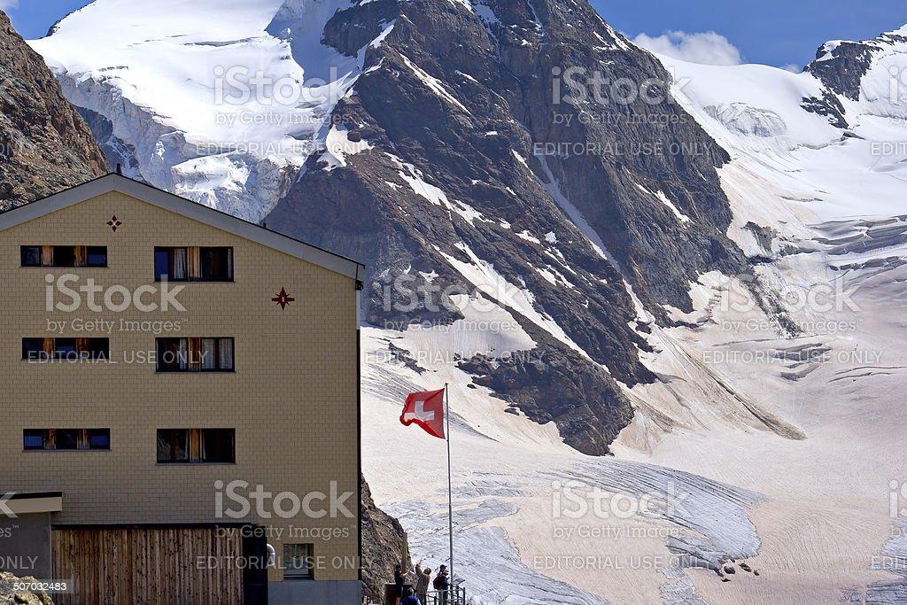 Restaurant Berghaus Diavolezza, Switzerland stock photo