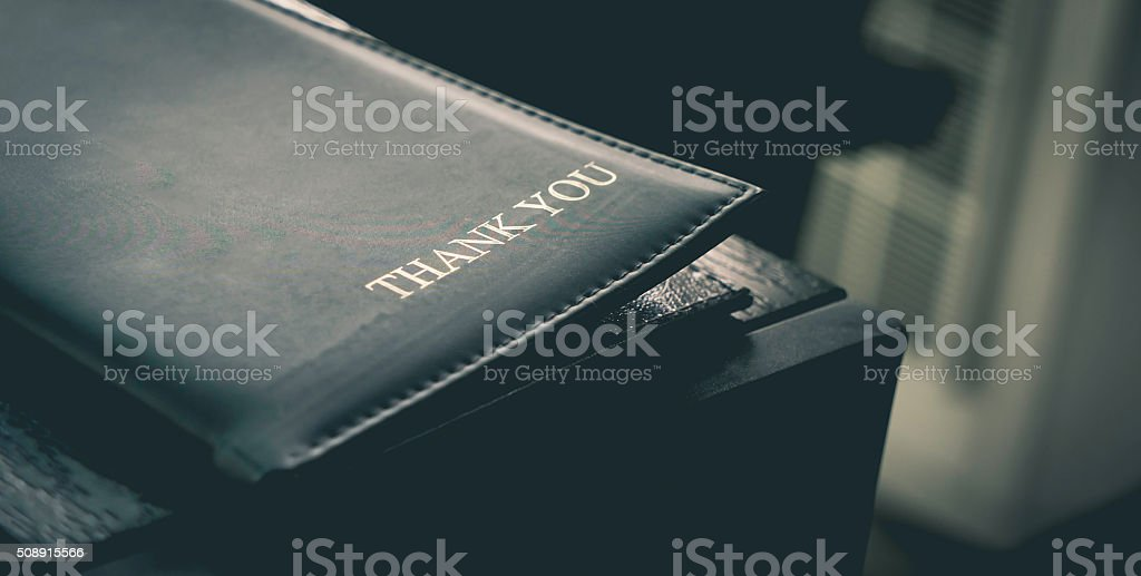 Restaurant Billing Tray with Letter 'Thank You' stock photo