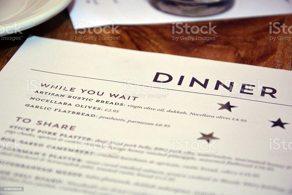 Restaurant Birthday celebration menu - While you wait stock photo