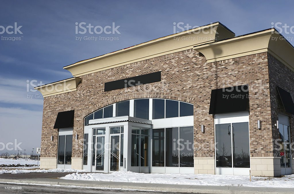 Restaurant Building Entrance in Winter royalty-free stock photo