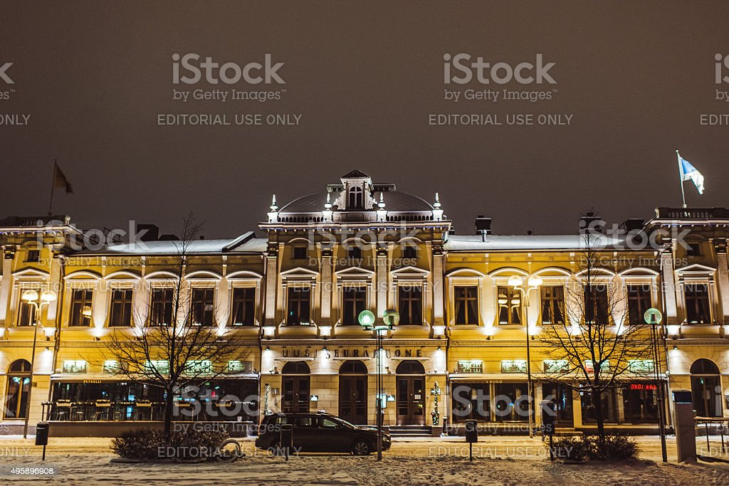 Restaurant building in Oulu Finland stock photo
