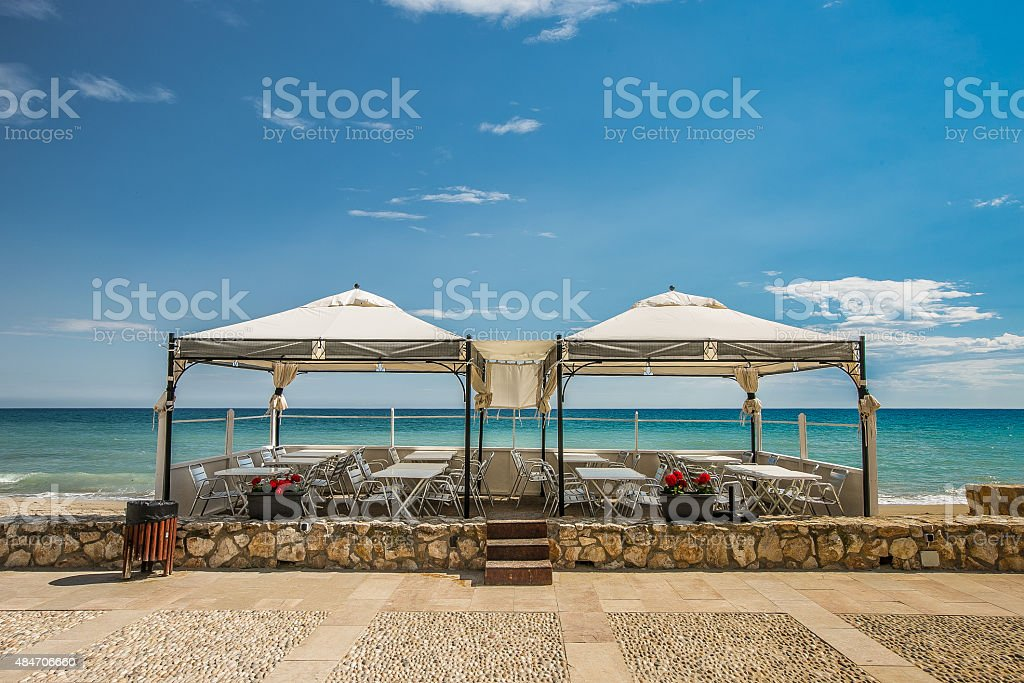 Restaurant by the beach stock photo