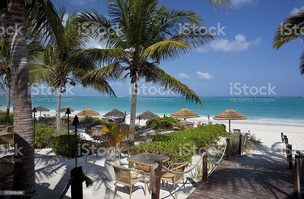Restaurant by the Caribbean Sea stock photo