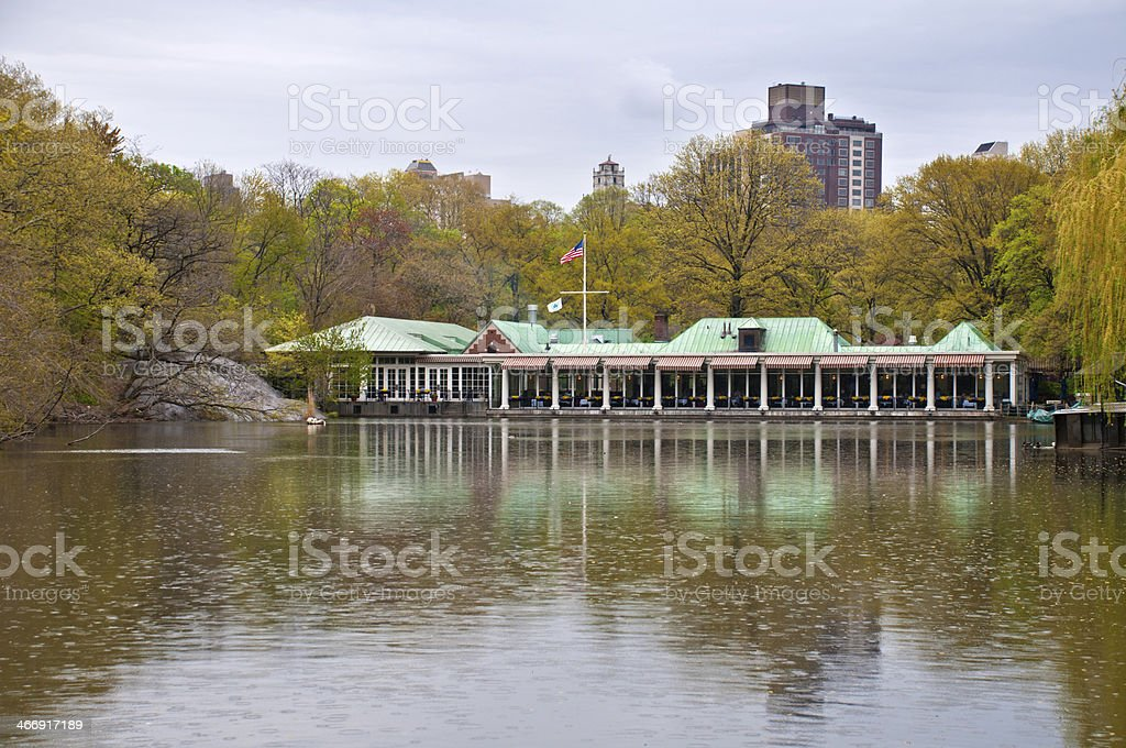 Restaurant by the lake in Central Park stock photo
