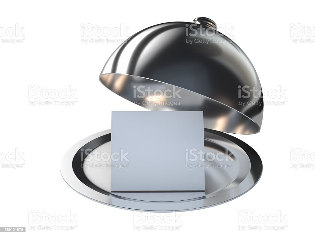 Restaurant cloche with open lid stock photo