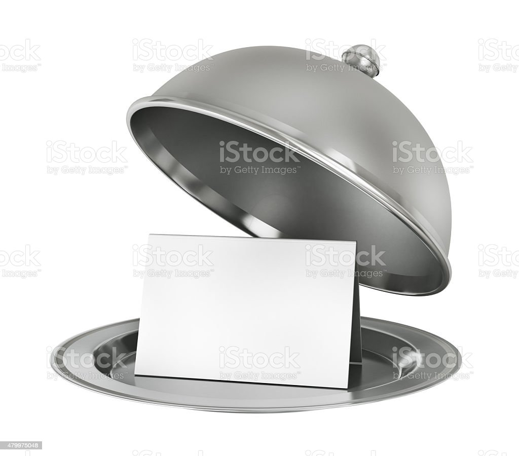 Restaurant cloche with paper template stock photo