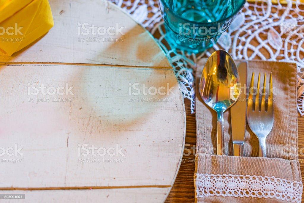Restaurant dining table stock photo