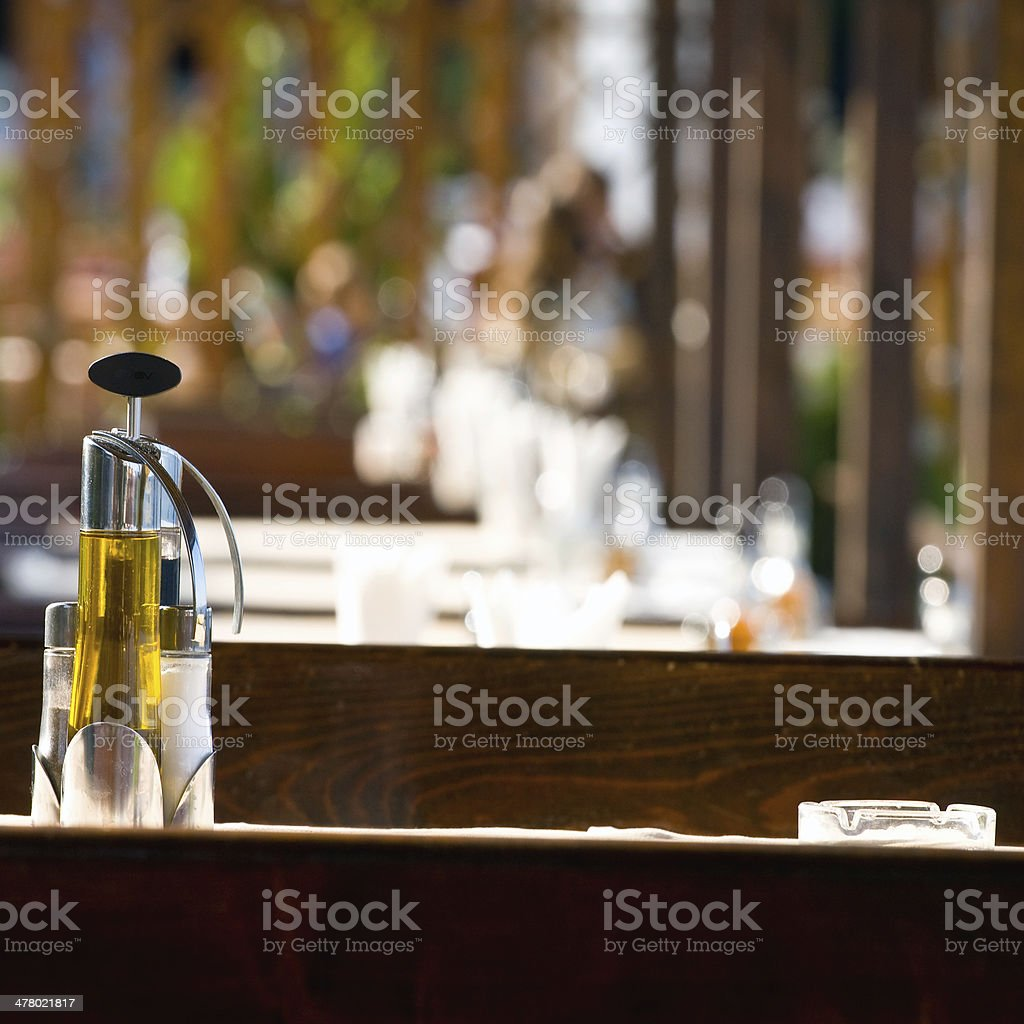 Restaurant dining table, set and ready royalty-free stock photo