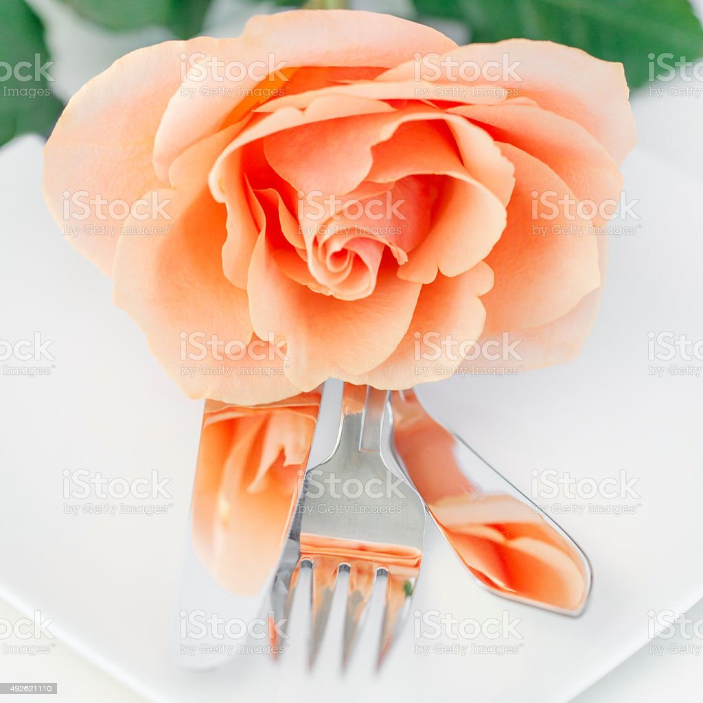Restaurant Dinner Arrangement Set Plate with Silverware Orange Rose royalty-free stock photo