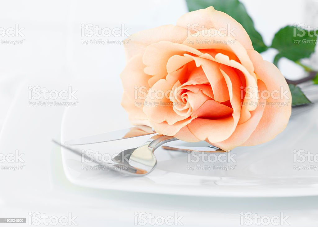 Restaurant Dinner Arrangement Set Plate with Silverware Orange Rose royalty-free stock photo
