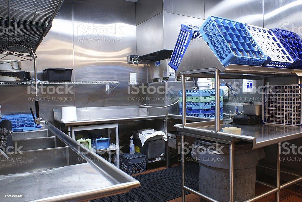 Restaurant Dishwashing Station stock photo