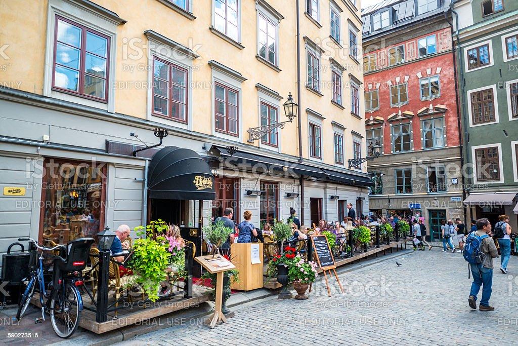 Restaurant Ebanista on Stortorget Square , Stockholm, Sweden stock photo