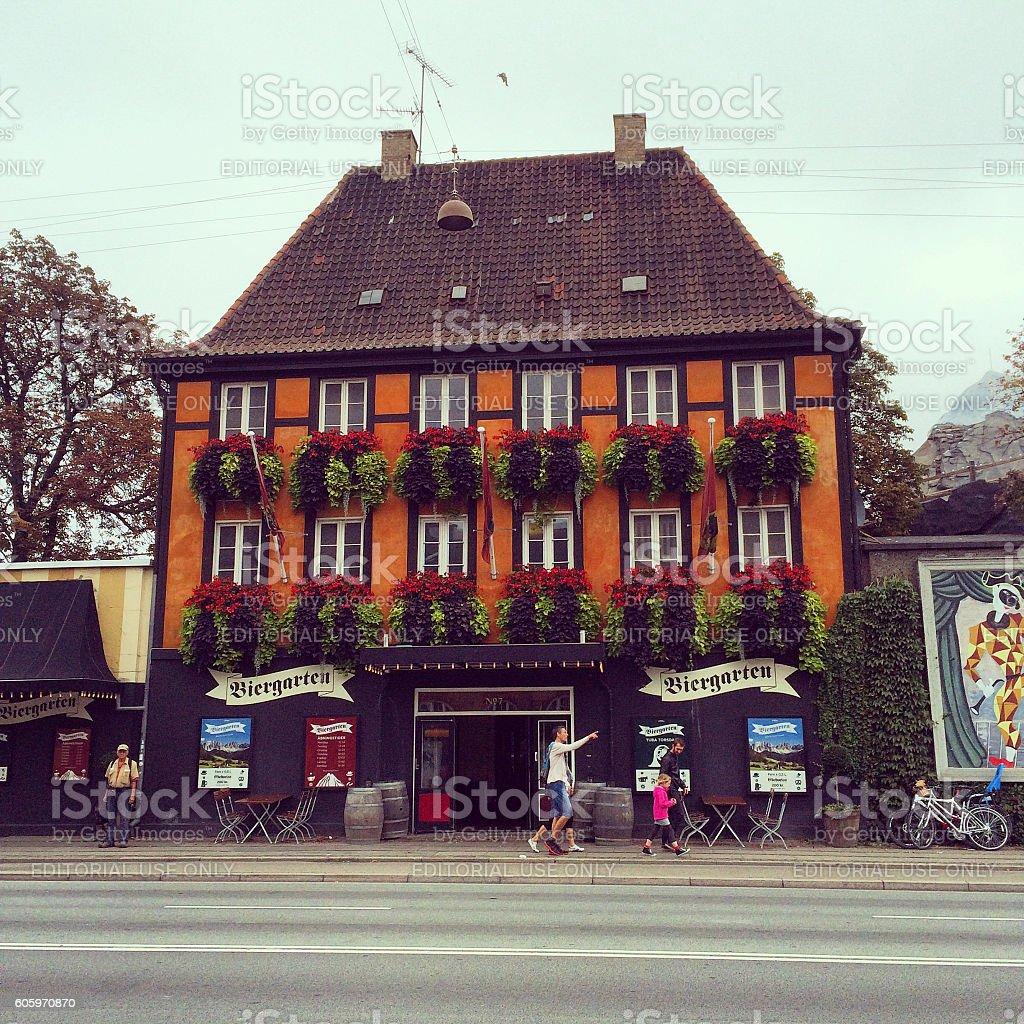 Restaurant facade in Copenhagen, Denmark stock photo