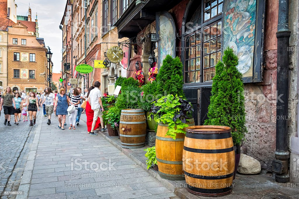 Restaurant facade in Old Town square in Warsaw, Poland stock photo
