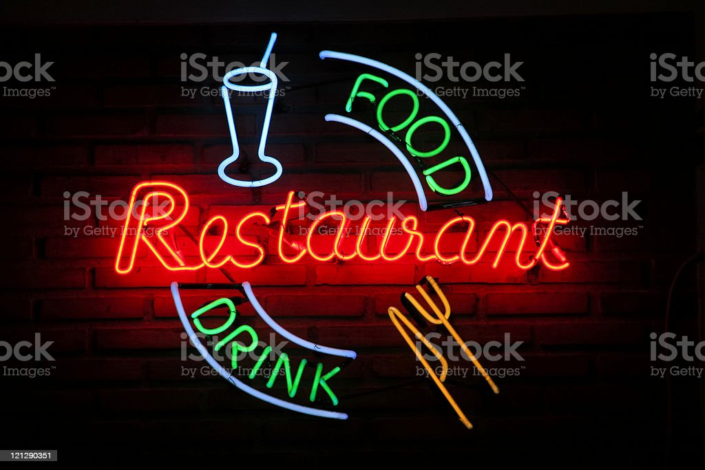 restaurant food drink neon sign