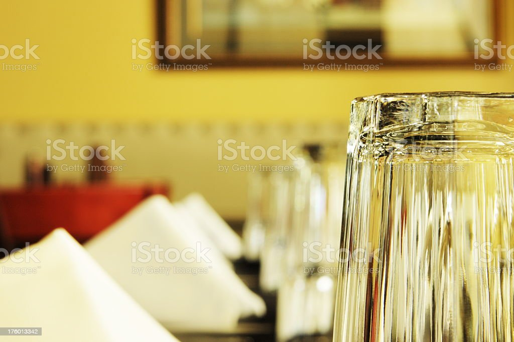 Restaurant Glass Napkin Place Setting stock photo