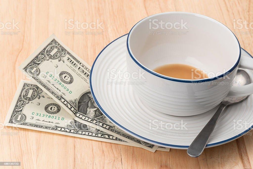 Restaurant gratuity or tips - US Dollars stock photo