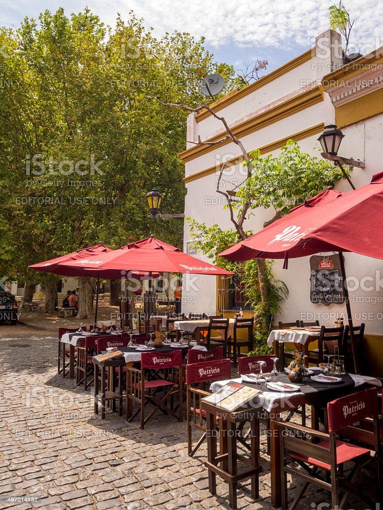 Restaurant in Colonia del Sacramento, Uruguay stock photo