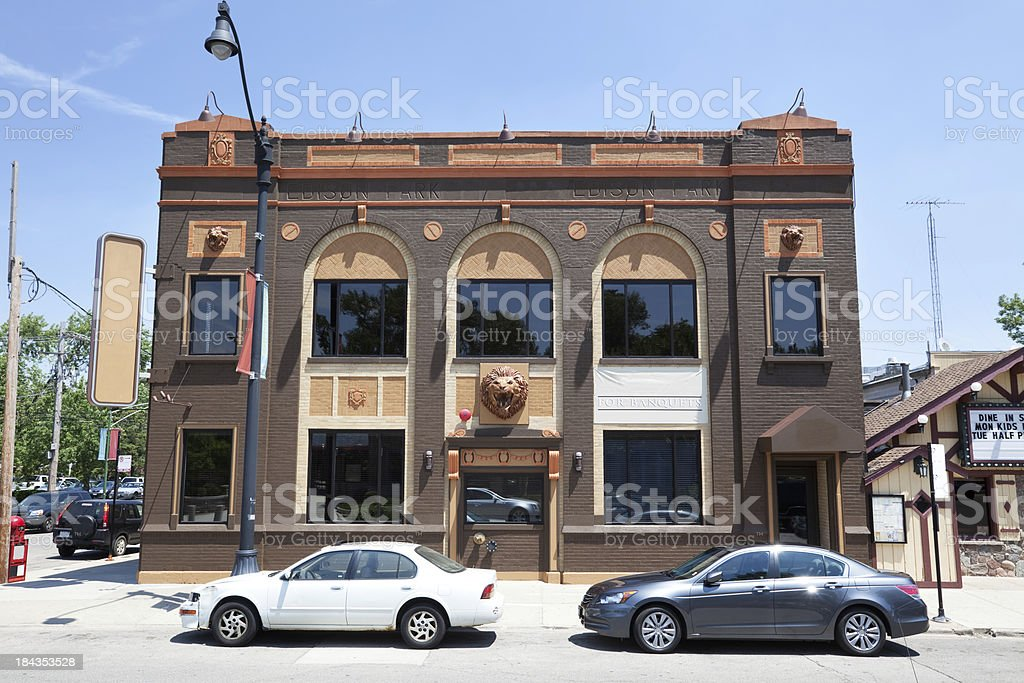Restaurant in old bank building, Edison Park, Chicago stock photo