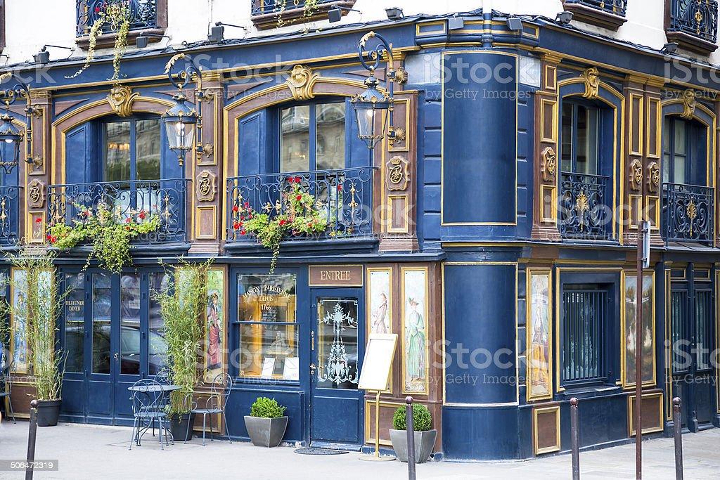 Restaurant in Quai des Grands Augustins, Paris stock photo