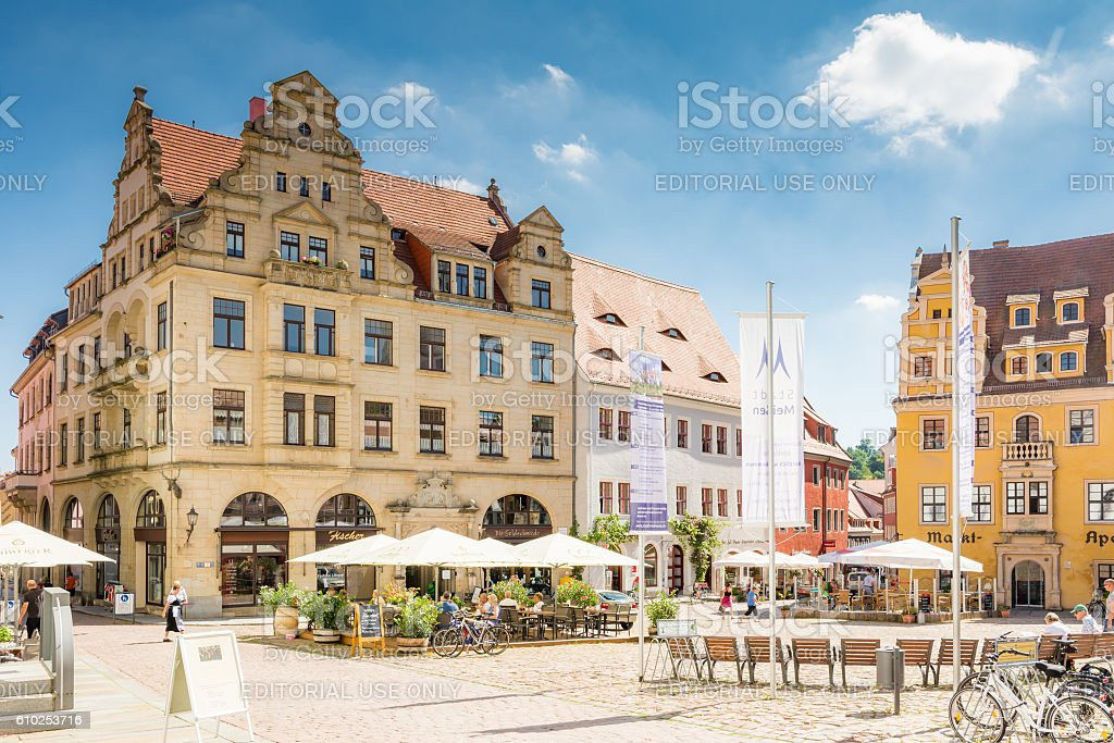 Restaurant in the historic old town of Meissen stock photo