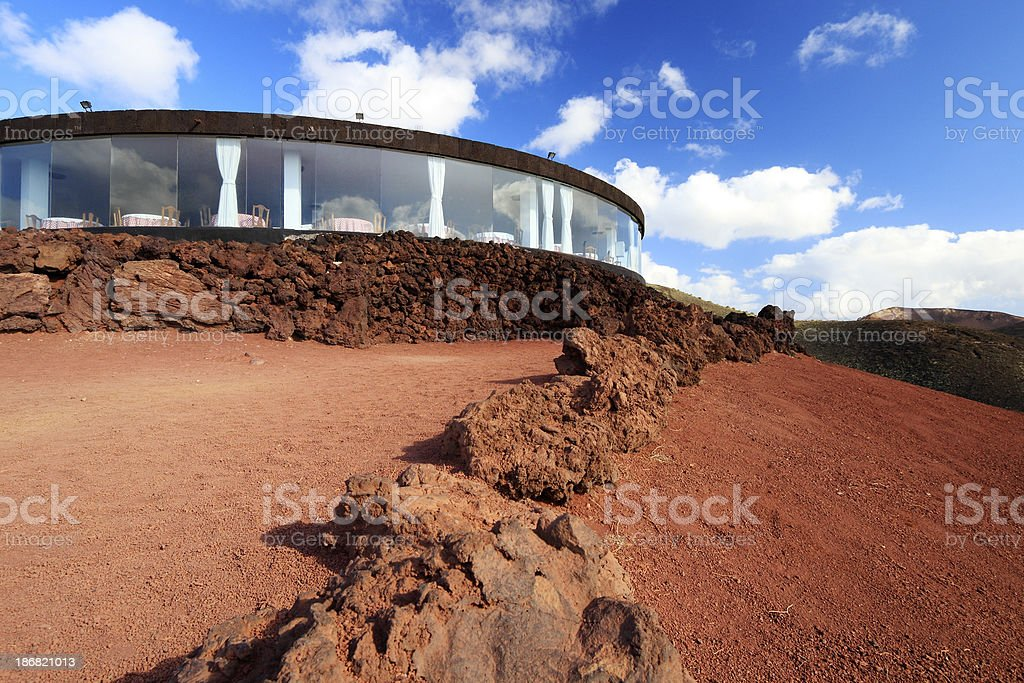 Restaurant in Timanfaya NP stock photo