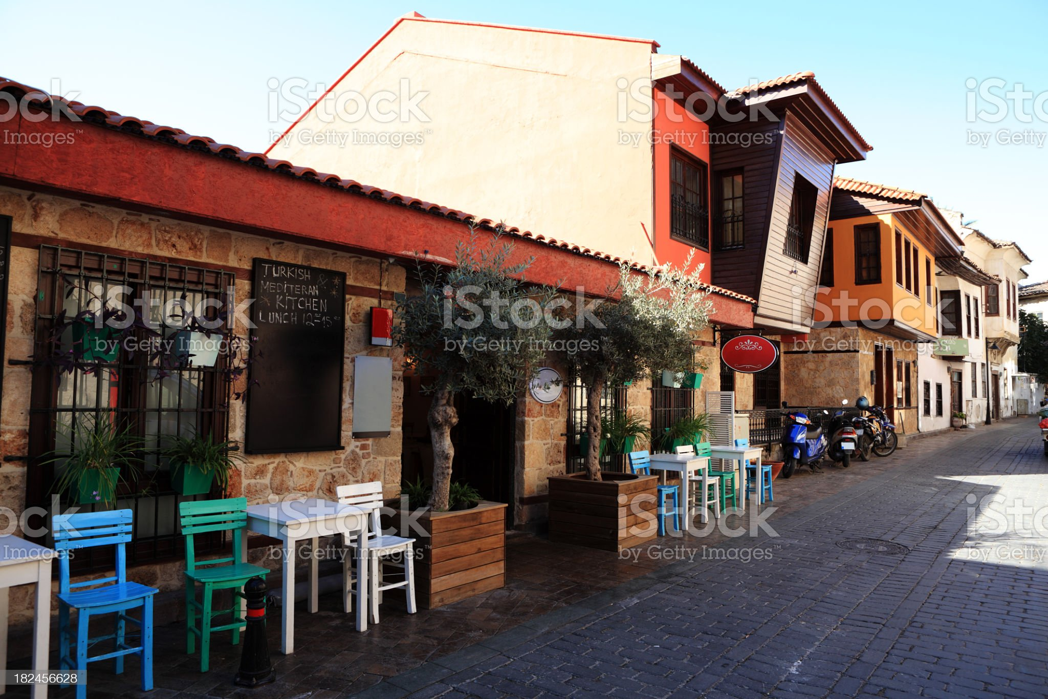 Restaurant in Turkish Mediterranean Town Kaleici royalty-free stock photo