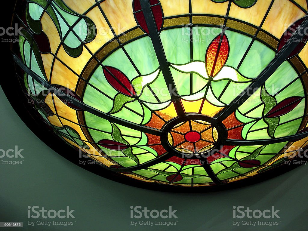 Restaurant Interior | Colorful Glass Lamp Detail royalty-free stock photo