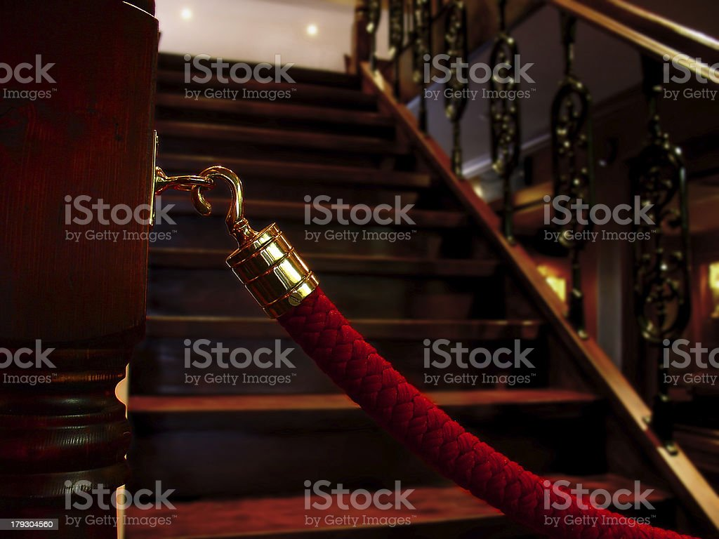 Restaurant Interior | Stairs Rope Detail royalty-free stock photo