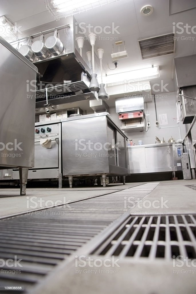 Restaurant kitchen and drainage stock photo