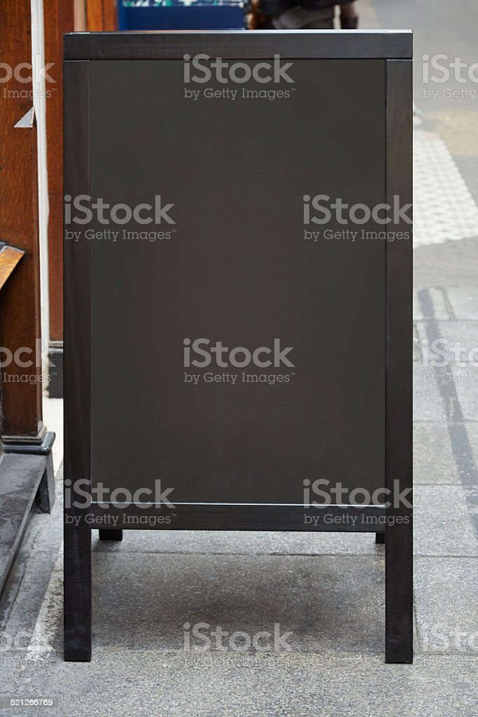 Restaurant menu blank board on the street stock photo