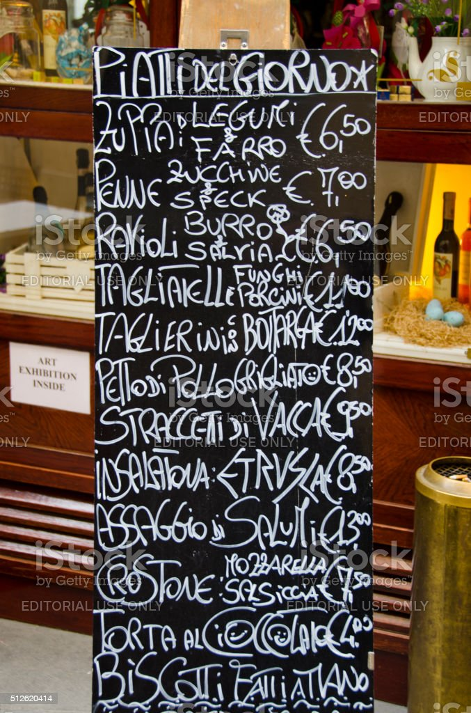 Restaurant Menu in Cortona, Italy stock photo