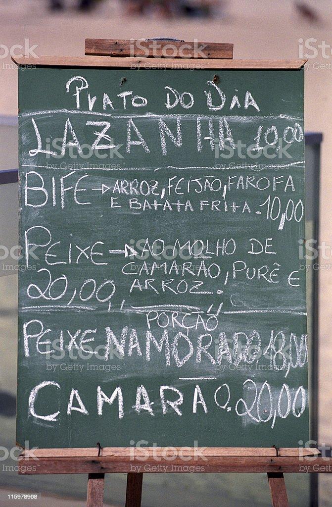 Restaurant menu in portuguese stock photo