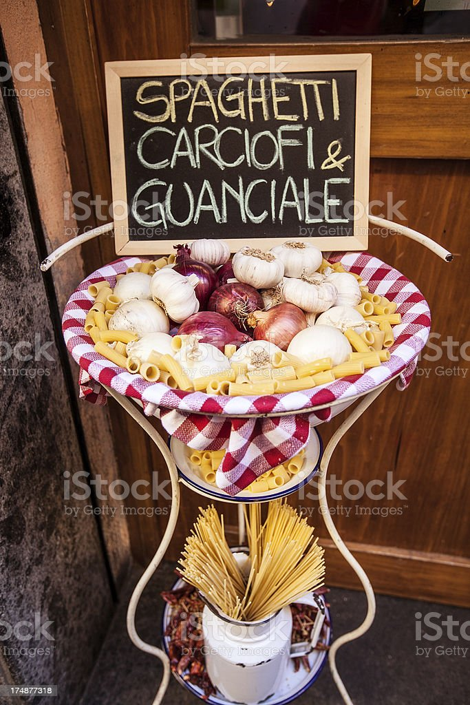 Restaurant Menu on the Street in Rome royalty-free stock photo