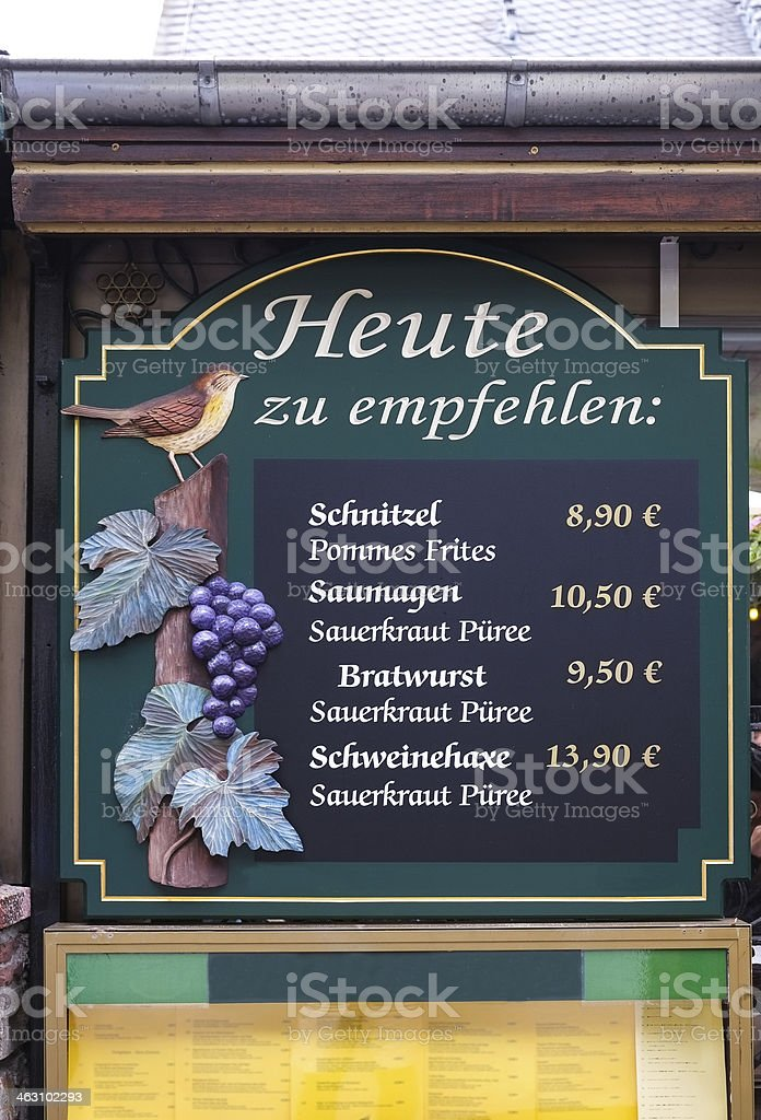 Restaurant menu sign in Germany stock photo