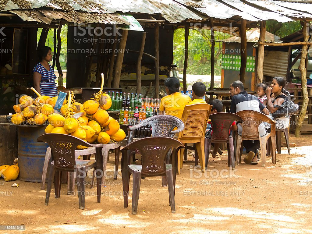 Restaurant near Moonstone site in  Anuradhapura, Sri Lanka stock photo