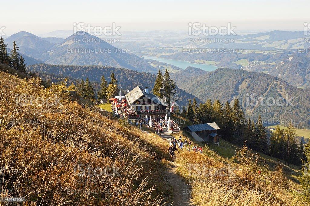 Restaurant on a mountain in austrian Alps stock photo
