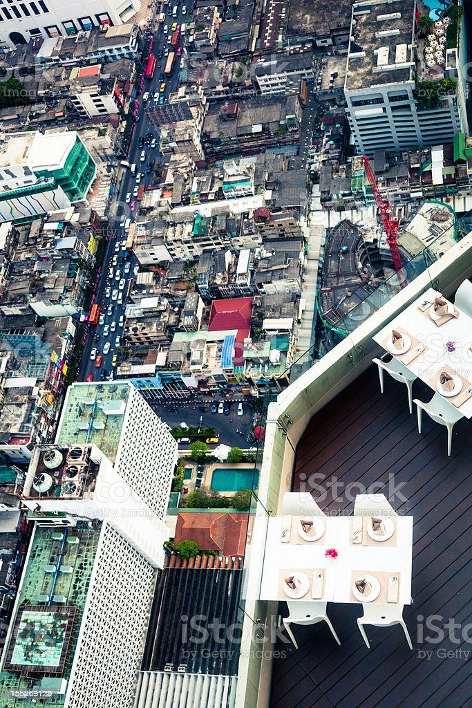 Restaurant on air in Bangkok royalty-free stock photo