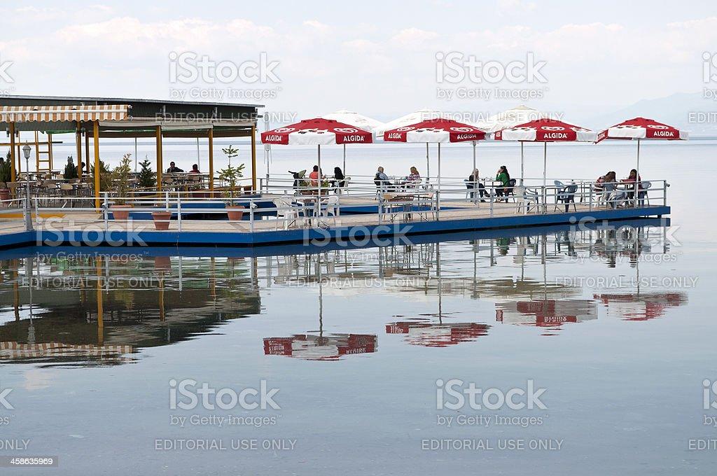 Restaurant on Lake Ohrid Albania royalty-free stock photo