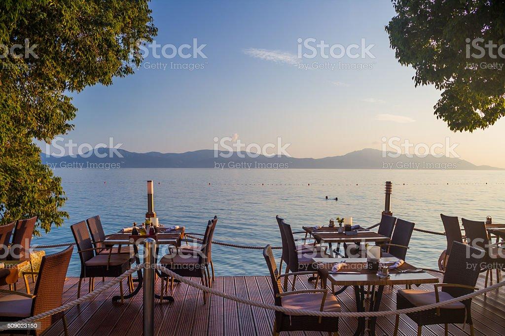 Restaurant on the beach stock photo