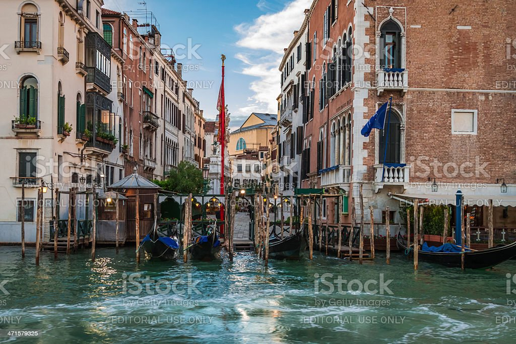 Restaurant on the  Grand Canal in Venice royalty-free stock photo