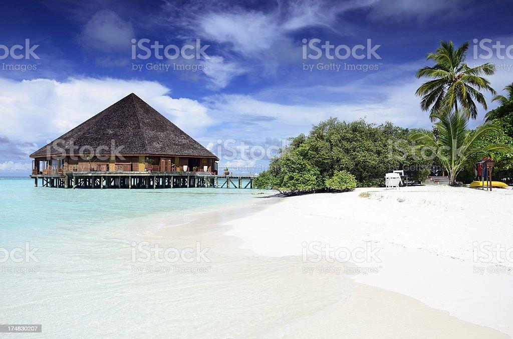 Restaurant on the Maldives royalty-free stock photo