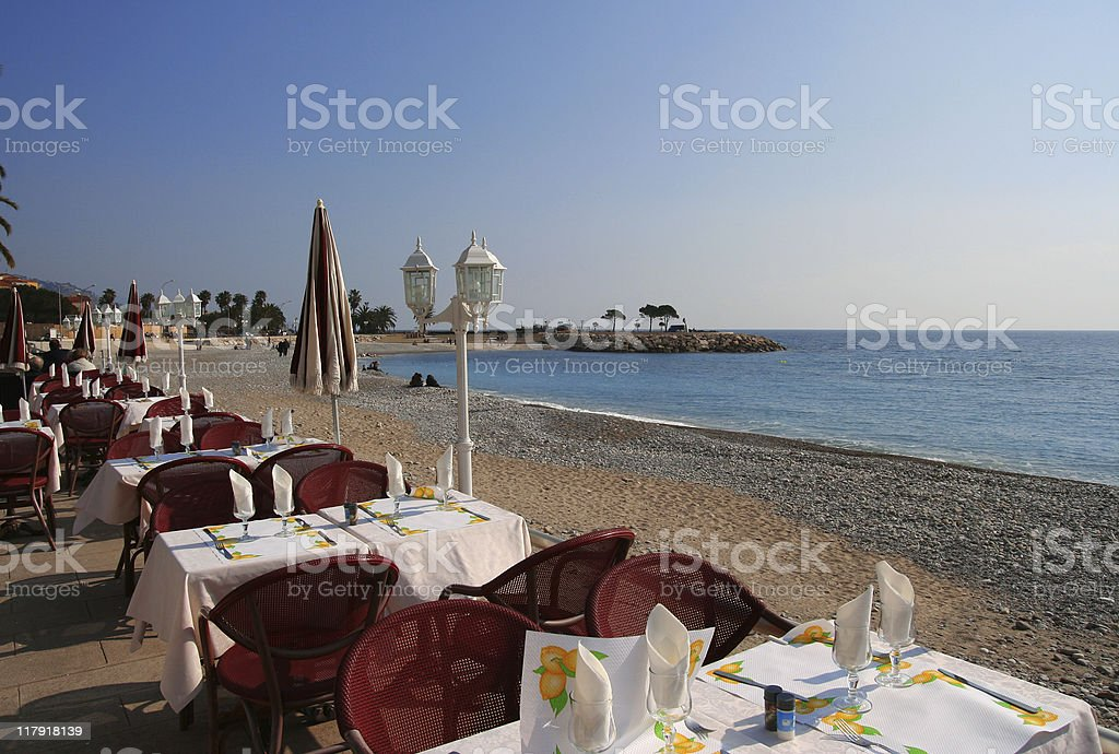 restaurant on the sea royalty-free stock photo