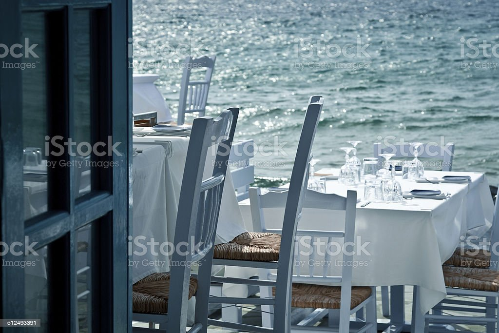Restaurant on the sea stock photo